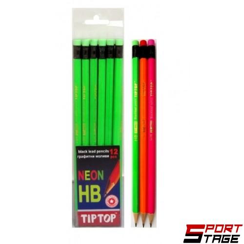 Моливи с гума TIP TOP, неон 12 бр. в ПВЦ кутия