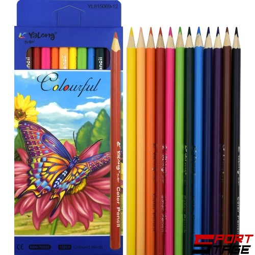 Цветни моливи 12 цвята, дълги