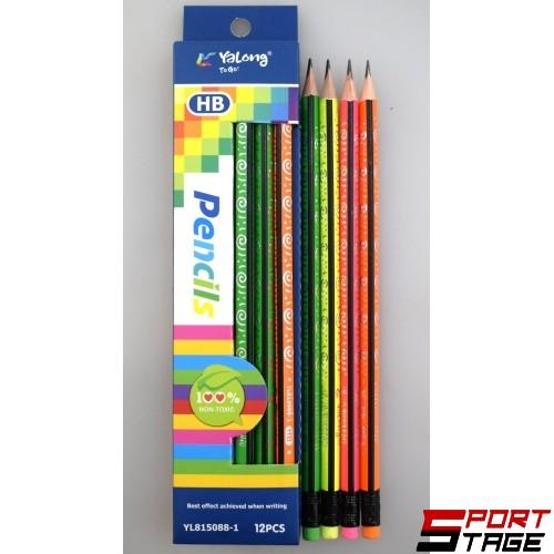 Моливи чернографитни HB с гума 12 бр. в кутия