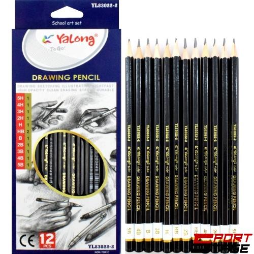 Моливи чернографитни, с различни твърдости от 5H до 5B, 12 бр. в кутия, YALONG
