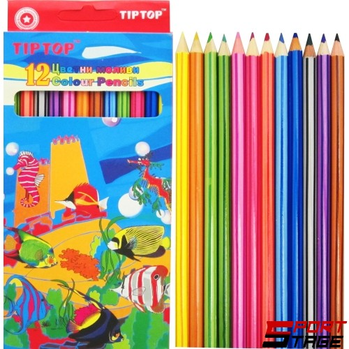 Цветни моливи TIP TOP дълги, 12 цвята