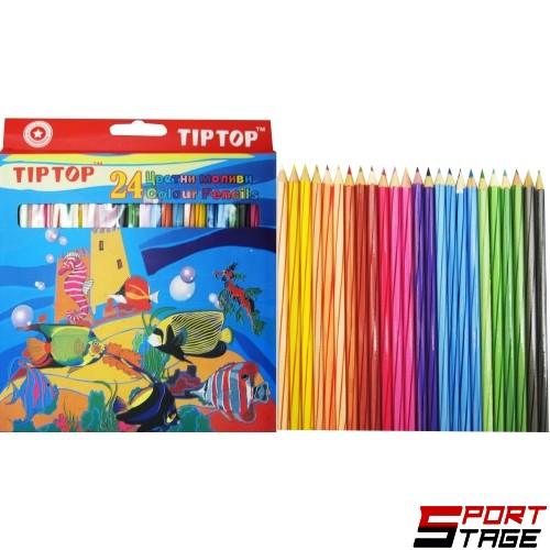 Цветни моливи TIP TOP дълги, 24 цвята