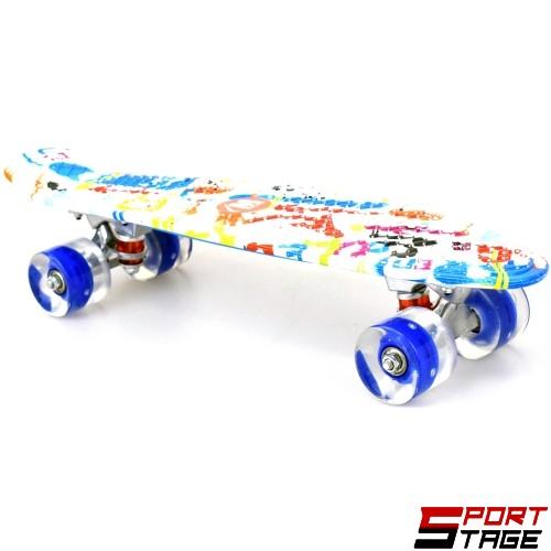 0d08ac4968c Скейтборд MAXIMA мини 56 см с цветен печат и светещи колела