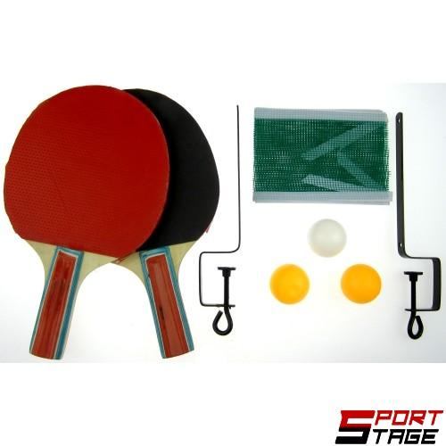 Хилки 2 броя + 3 топчета, мрежа и стойка за тенис на маса MAXIMA