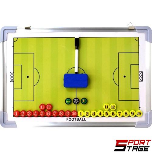 Бяла треньорска дъска футбол 40/60cm (200851)