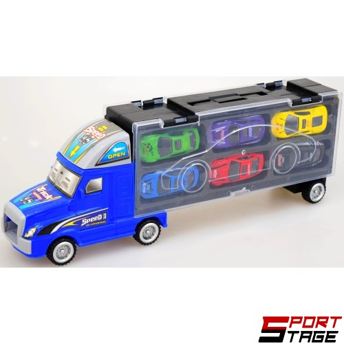 Камион с контейнер с метални коли