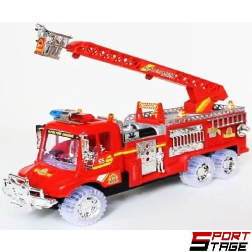 Камион пожарна инерционен със светещи колела, звук и маховик