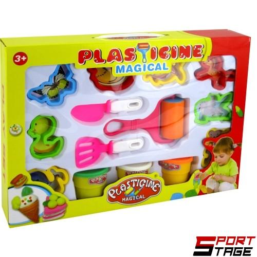 Пластилин 3 цвята с формички и инструменти