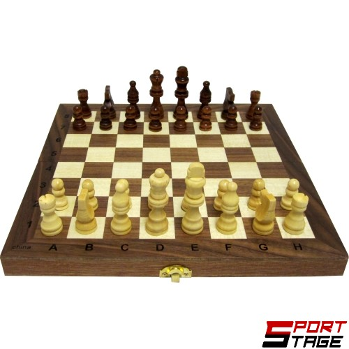 Шах и табла MAXIMA дървен 29.5см, фигури 2.7-5.5см