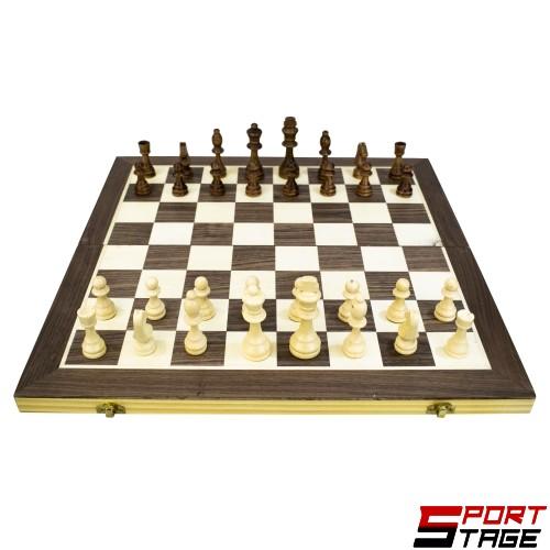 Шах и табла дървен 49.5 см, фигури 5-9 см