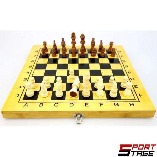 Шах и табла от бамбук 34 см, фигури 3 - 6.7 см