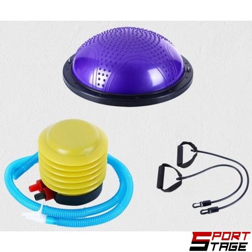 Полутопка за баланс BOSU ball 60 см с твърда ПВЦ основа и ластици